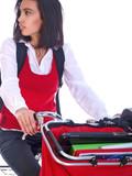 studentin mit fahrrad und laptop poster
