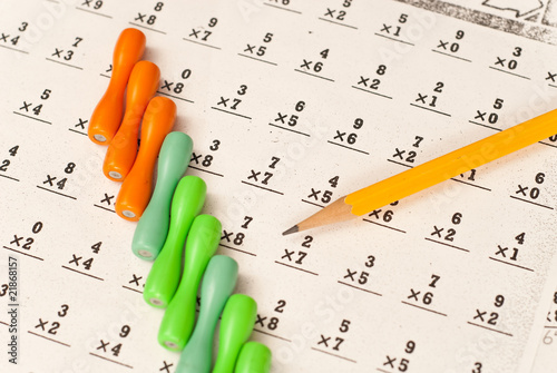 Multiplication Tables Sheet with Counting Sticks and Pencil