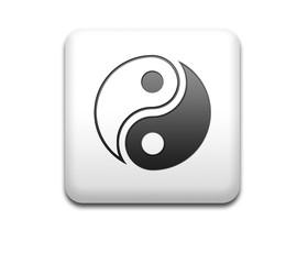 Boton cuadrado blanco signo yin yang