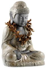 bouddha paré collier fleurs sèches frangipanier, fond blanc