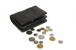 Постер, плакат: Black leather wallet with money