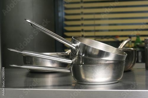 Cookware in a Restaurant Kitchen