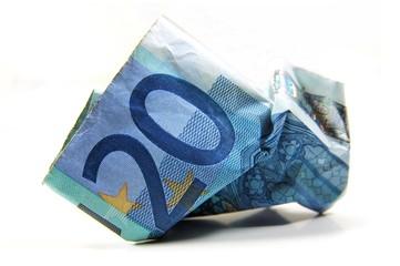 Zerknitterter 20 Euro Geldschein