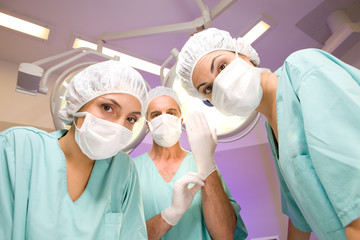 Surgeons preparing for operation