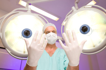 Surgeon preparing for operation