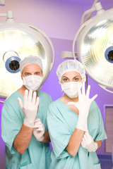Surgeons preparing for operation
