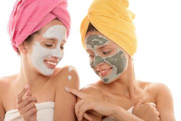 Young women wearing facial mask