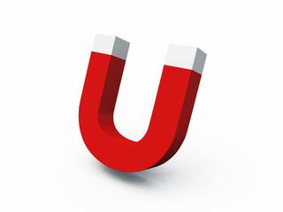 3D U-Magnet rot weiss - freigestellt