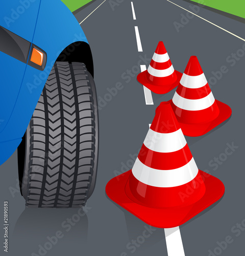 Car and traffic cone