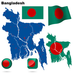 Bangladesh vector set. Shape, flags and icons.