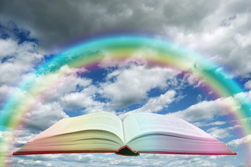 book and rainbow