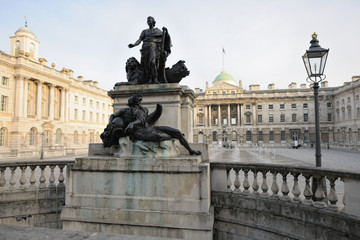 Statue of George III and Neptune Somerset House courtyard London