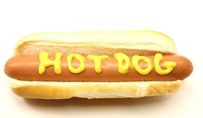 Foot Long Hot Dog with Hot Dog written in mustard