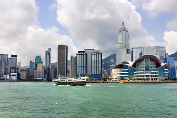 China, Hong Kong waterfront buildings