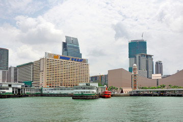 China, Hong Kong Kowloon waterfront buildings