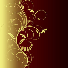 Golden flower on a chocolate background