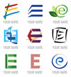 Ensemble d'Icones Lettre E pour Design Logos