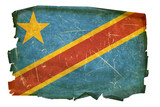 DR Congo Flag old, isolated on white background.