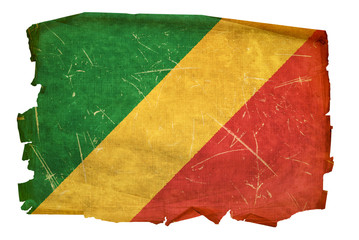 Republic of the Congo Flag old, isolated on white background