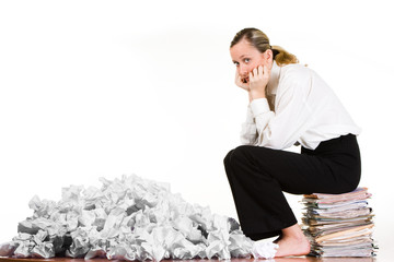 Woman sitting on files