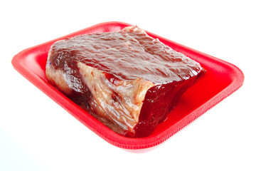 raw meat on tray