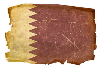 Qatar flag old, isolated on white background
