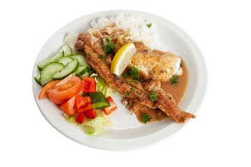 Plaice with rice and salad