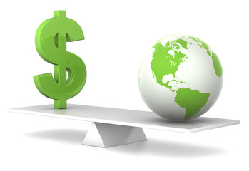 in balance - dollar and earth - green business concept
