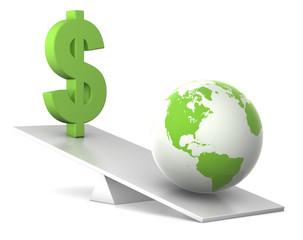 balance - earth and dollar