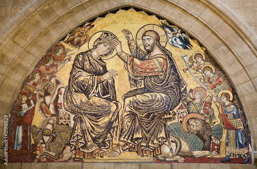 Jesus Christ and coronation of holy mary - mosaic