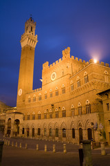 Siena - Town-hall and Torre del Mangia in the nigh