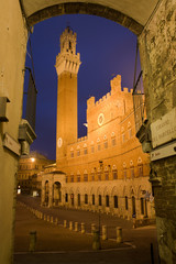 Siena - Town-hall and Torre del Mangia in the night