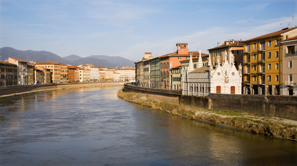 Pisa - waterfront and little chapel