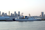 Military ship.Coast Guard.Yokohama, Japan  sunset