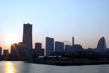 Yokohama Japan skyline.Sunset