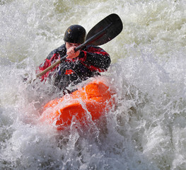 Kayaking on whitewater