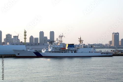Military ship.Coast Guard.Yokohama, Japan  sunset