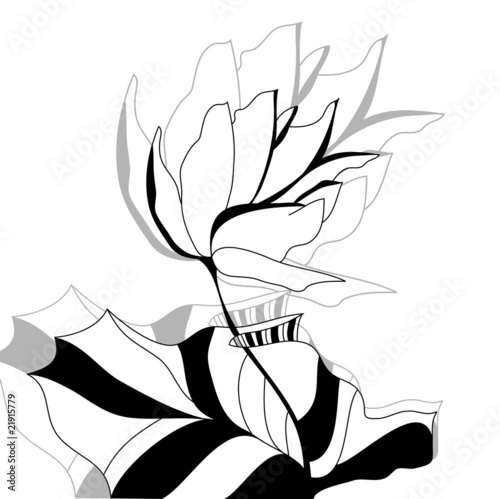 Monochrome illustration with flower © Regina Jersova