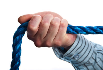 concept male hand on blue rope on white