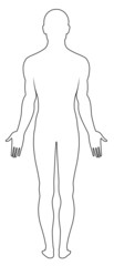 Full length back view of a standing naked man