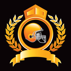 football helmet yellow royal display