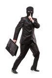 A man in robbery mask stealing a briefcase isolated on white poster