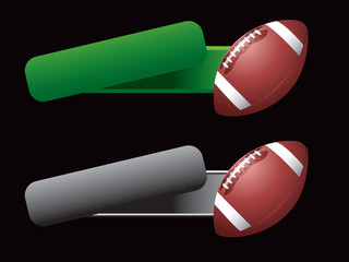 football tilted green and gray banners