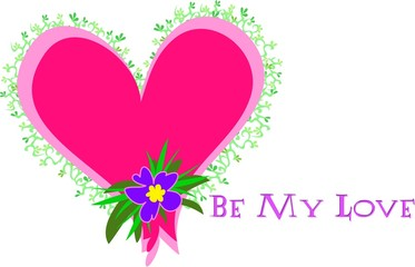 Heart with Be My Love Message