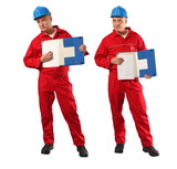 inspector in red uniform and blue hardhat showing page poster