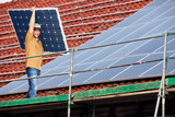 installing solar modules on a roof 12 poster