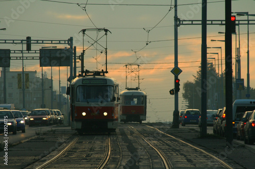 Tram in sunset