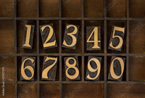 wood numbers - vintage letterpress type
