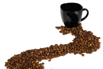 black cup and coffee beans