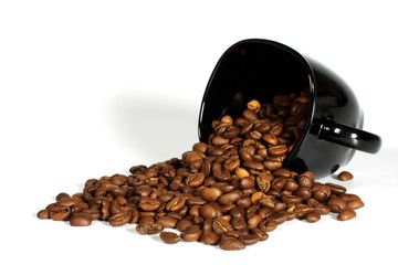 cup with grain coffee